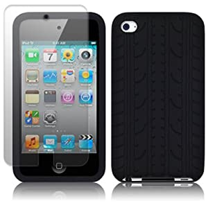 APPLE IPOD TOUCH 4TH GENERATION TYRE TREAD SILICON SKIN CASE - BLACK, WITH SCREEN PROTECTOR PART OF THE QUBITS ACCESSORIES RANGE