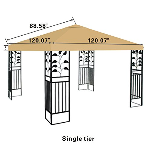 STRONG CAMEL Replacement 10'X10'gazebo canopy top patio pavilion cover sunshade plyester single tier-BEIGE (Patio Replacement Cover compare prices)