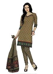 Araham Beige Printed 100% Cotton Unstitched Salwar Suit Dress Material