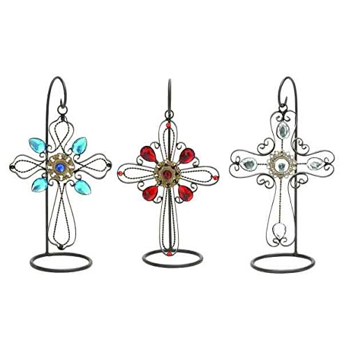 Decorative Tabletop Metal Cross with Stand Figure, 10-inch, (1-pc Random)
