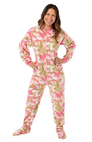 Big Feet Pjs Pink Camo Micro-Polar Fleece Adult Footed Pjs W/ Drop Seat (Xs) front-1005235