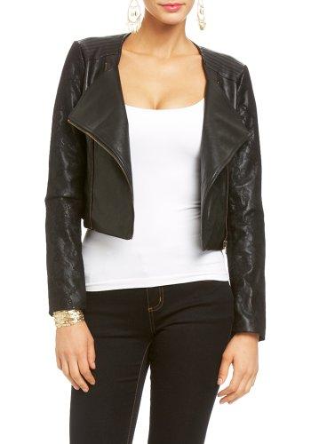 2B Asymmetrical Lace &Leatherette Jacket 2b Jackets Blk-s