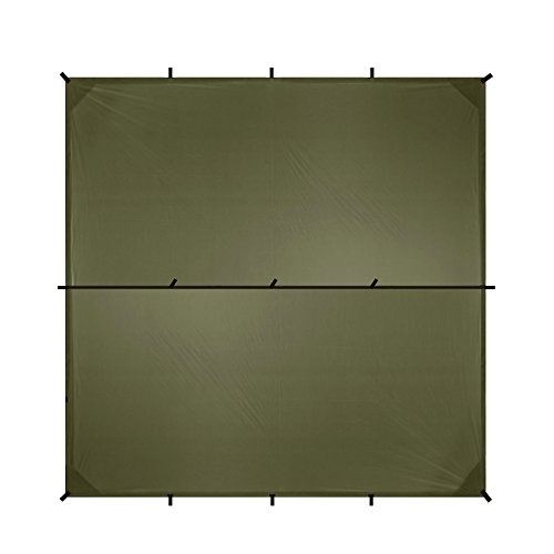 Aqua Quest Safari Sil Tarp - 100% Waterproof & Lightweight RipStop Nylon Material - 10 x 10 ft Square - Compact, Versatile, Durable Backpacking Tarpaulin - Olive Drab