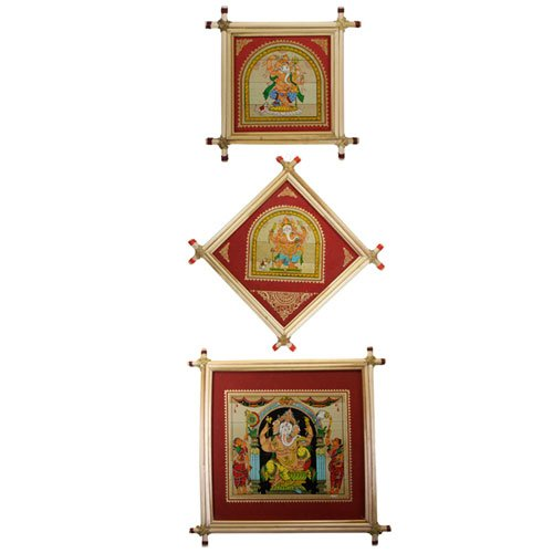Set of 3 Framed Ganesh Paintings with Red Border