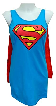 Super Girl Tank Style Night Shirt with Cape for women (Small)