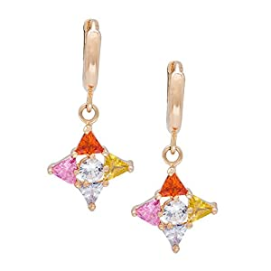 Snowman Lee Charms Lucky Flower Cubic Diamond 18k Rose Gold Plated Dangling Earrings