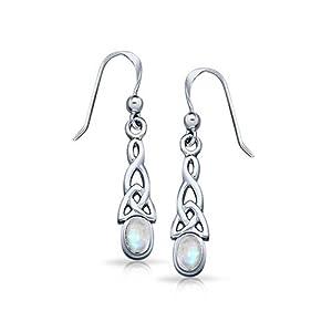 Bling Jewelry Sterling Silver Gemstone Celtic Knot Oval Moonstone Drop Earrings