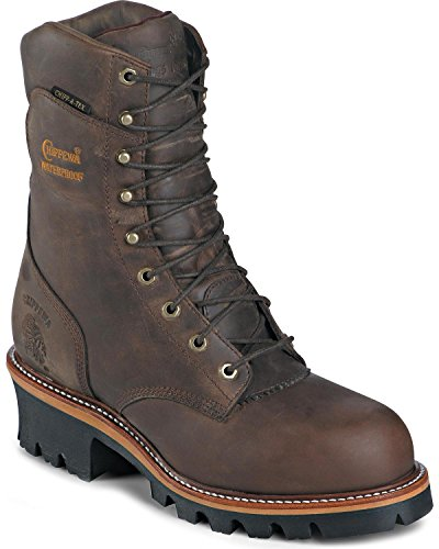 Chippewa Men's 9 Inch Bay Apache WP Steel Toe Super Logger Boot,Brown,8 E US