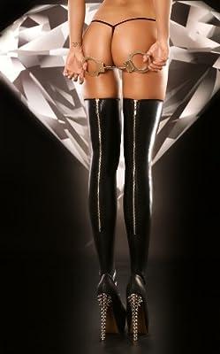 Schwarze Wetlook Strapsstrümpfe Rock mit hinteren Reißverschluß von Lolitta Dessous
