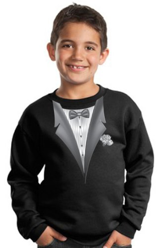 Cheap Youth TUXEDO T-shirt With WHITE FLOWER Kids Size Sweatshirt – Black