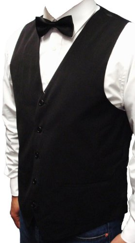 NEW MEN'S BLACK WAISTCOAT SUPERB HIGH STREET QUALITY + FREE BOW-TIE, Size-Large 42