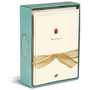 "Graphique - Ladybug Boxed Thank You Notes, 4.25 x 5.5"", Cream"