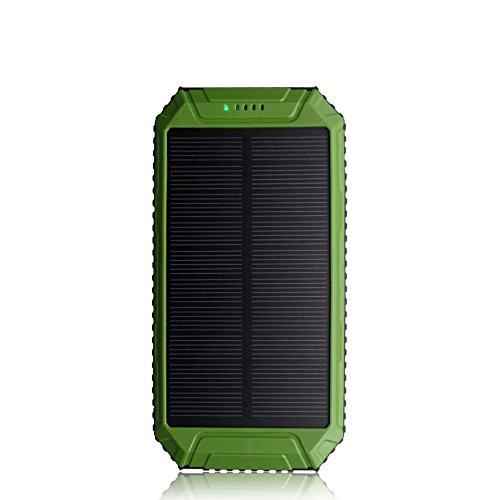 PowerGreen® モバイルバッテリー 大容量10000mAh ソーラーチャージャー 防水設計 2USBポート iPhone、Samsung、Sony、HTCデバイスなど充電できる 緊急防災用 旅行 ハイキングや地震 災害時が必要なも の
