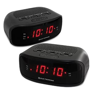 electrohome eaac200 digital am fm clock radio with battery backup dual alarm 2. Black Bedroom Furniture Sets. Home Design Ideas