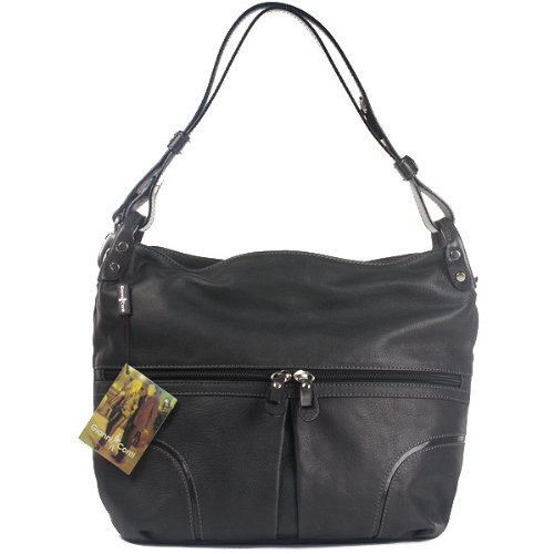 Gianni Conti Leather Shoulder Bag - Carbon Grey