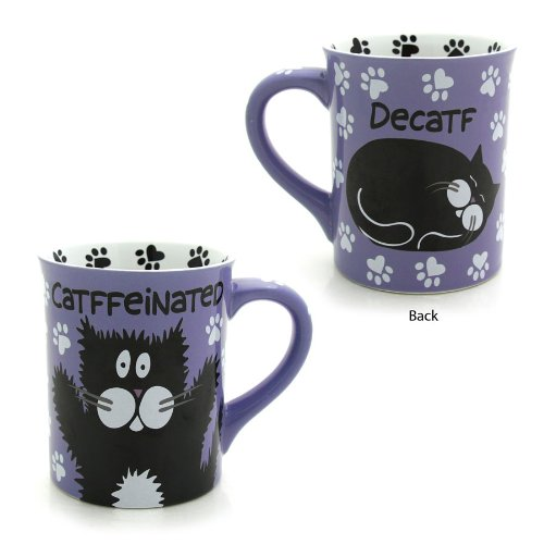 Enesco 4026111 Our Name Is Mud By Lorrie Veasey Catffeinated Mug, 4-1/2-Inch front-1032872