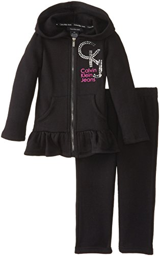 Calvin Klein Little Girls' Hoody With Pull On Pants, Black, 5 front-1050259