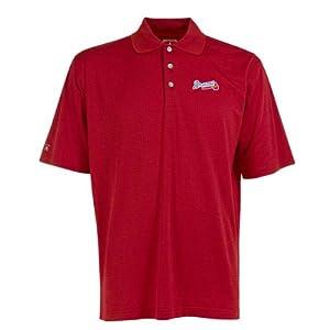 Atlanta Braves Polo - MLB Antigua Mens Phoenix Polo Dark Red by Antigua