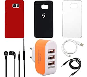 NIROSHA Cover Case Headphone USB Cable Charger car for Samsung Galaxy Note 5 - Combo