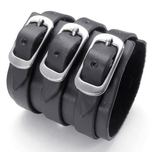 Konov Jewellery Wide Genuine Leather Unisex Mens Womens Bangle Cuff Bracelet, Punk Rock Style, Fits 7