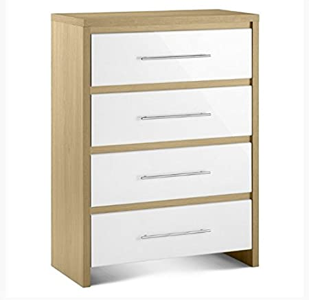 Two Tone 4 Drawer Chest - Combining A Light Oak Effect With Highly Fashionable High Gloss White Lacquered Accents - Boasts A Sophisticated Design