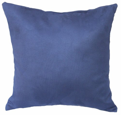 "Microfiber Polyester Faux Suede Blue, 16""x16"" Decorative Indoor Throw Pillow; Fully Assembled and Stuffed in the U.S.A"