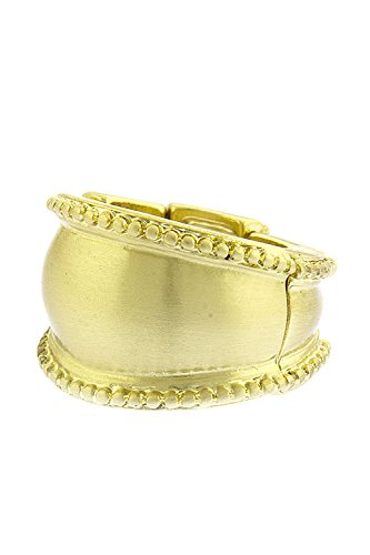 Trendy Fashion Jewelry Metal Bead Lined Convexed Ring By Fashion Destination | (Matted Gold)