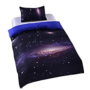 Sleepwish Hipster Galaxy Bedding Set Universe Outer Space Themed Galaxy Print Bedlinen Sheets Duvet Cover Set Twin size