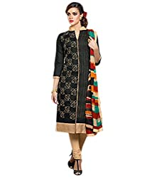 Siya Fashion women's Chanderi Party Wear Unstitched Dress Material(si710_Black color)