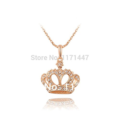 Womens Mens 2015 Designer Luxury Princess Fashion Jewelry Gift Rose Gold Plated Copper Austrian Crystal Crown Pendant Necklaces