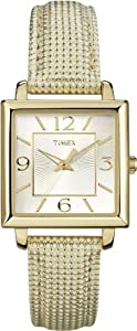 Timex Women's Dress T2P379 Beige Leather Analog Quartz Watch with Silver Dial