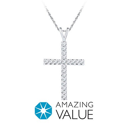 1/2 Ct. Tw. Diamond Cross Pendant In 10K White Gold