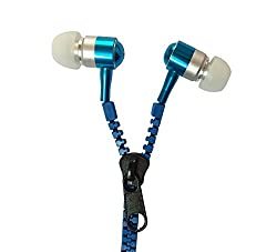 Storite Zipper Earphones/Hands free With Mic *Stylish Design* for all Mobiles- Blue