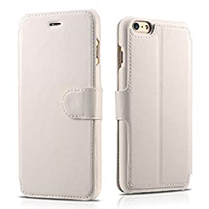 iPhone 6 Plus / 6s Plus Case, Benuo [Classic Wallet Series] [Magnetic Closure] Protective Folio Flip Cover PU Leather Case, Wallet Case [3 Card Holder & 1 Cash Slot] with Stand for iPhone 6s Plus / iPhone 6 Plus 5.5 inch (White)