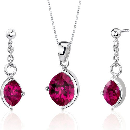 Museum Design 6.00 carats Marquise Cut Sterling Silver Ruby Pendant Earrings Set Free Shipping