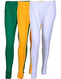 Cotton Leggings (Culture The Dignity Women's Cotton Leggings Combo Of 3_CTDCL_GYW_GREEN-YELLOW-WHITE_FREESIZE)