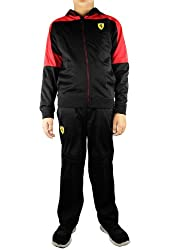 Puma Kids 2-7 Ferrari Hooded Tricot Track Suit Set - Black/Red (Boys)