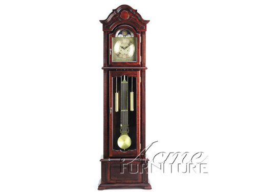 Grandfather Clock with Beveled Glass in Dark Walnut Finish Acs001402