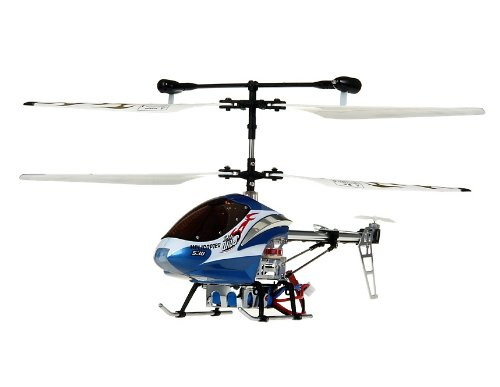 HCW 530 Aluminum Alloy 3-Channel RC Helicopter with Gyroscope Lights (Blue)