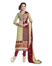 Maruti Suit Women's Kora Silk Suit Material (Mas9002, Beige, Free Size)