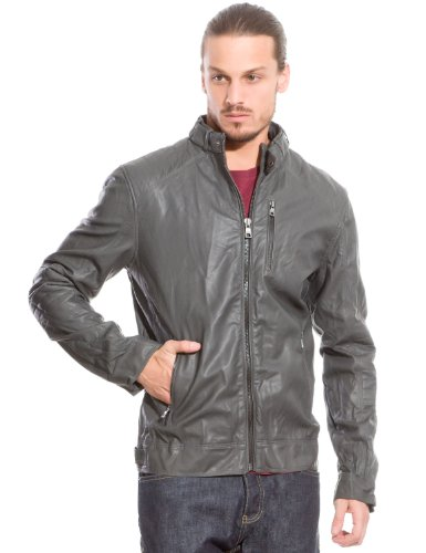 Springfield Men's Imitation Leather Jacket with Zip Fastening and Zipped Pockets Stitching Detail on Front Yoke, Back and Elbows, L, grey