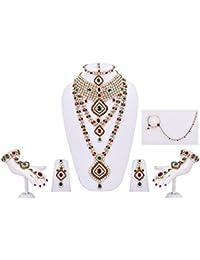 Maroon Green Kundan Big Stone Full Heavy Gulubang Bridal Jewellery Set