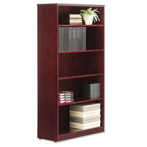 Alera Products - Alera - Verona Veneer Series Bookcase, 5 Shelves, 36w x 14d x 66h, Mahogany - Sold As 1 Each - Combining veneer elegance with modular format versatility. - Fine-finished, premium-grade veneers and solid woods. - Durability suited to everyday commercial applications. - Height aligns with Verona series worksurfaces and hutches. - Leveling glides compensate for uneven floors.