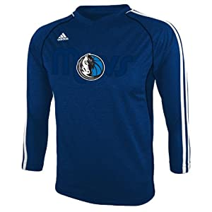 NBA Dallas Mavericks Youth 8-20 Long Sleeve On-Court T-Shirt, Blue by adidas