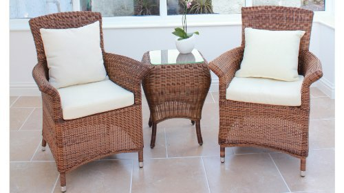 Cozy Bay® Sicilia Rattan Furniture Java Honey Garden Conservatory Tea For Two Set
