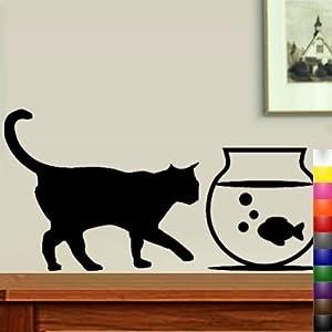 "StikEez Black 29"" Cat Walking to Fishbowl Fun Wall Decal"
