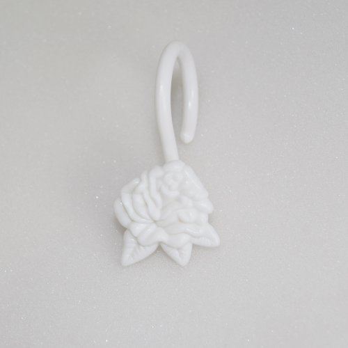 White Shower Curtain Hooks/rings : Rose Flower, Set of Twelve (12)