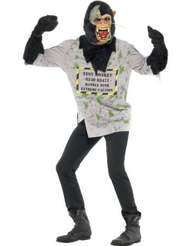 Smiffy's Men's Mutant Monkey Costume Top with Fur Arms and Latex Mask