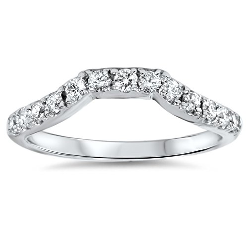 40ct-Modern-Curved-Notched-Geniune-Diamond-Band-Enhancer-14K-White-Gold-Ring