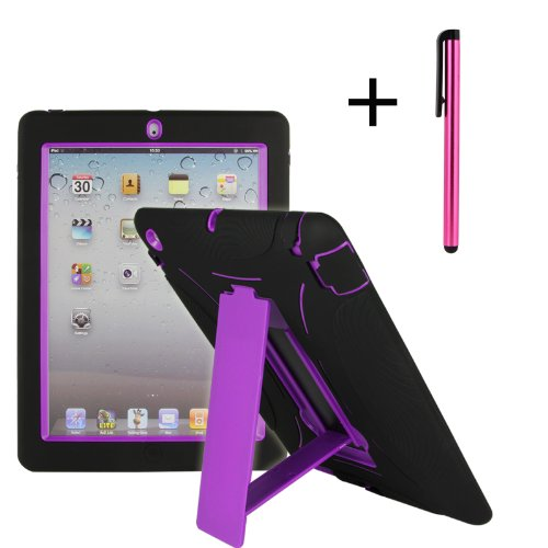 Shocks and Drops Proof Heavy Duty Kickstand Case W/ Free Stylus for Apple iPad 2 iPad 3 iPad 4 -Silicone Outer Layer with Dirt-proof Caps and Anti-Slip Design +Snap-fit Hard PC Cover Inner layer with